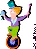 girl on unicycle Vector Clipart illustration