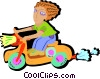 Vector Clipart picture  of a young child riding scooter