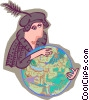 Vector Clipart picture  of a Columbus with a globe