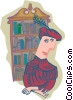 Vector Clip Art image  of a navigator with bookcase