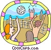 Vector Clip Art graphic  of a People playing a Volleyball