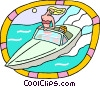 Vector Clipart picture  of a People riding in motor boat