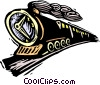 Vector Clip Art graphic  of a business train with clock face