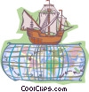 Vector Clipart graphic  of a Ship on world map