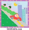 car driving uphill Vector Clipart illustration