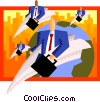 business people flying in paper airplanes Vector Clipart graphic
