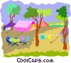 Vector Clip Art image  of a camp ground with tents