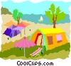 camp grounds with tents Vector Clipart graphic