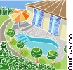 backyard landscape Vector Clipart picture