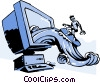 Vector Clip Art image  of a business / surfing the WEB