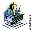 Vector Clip Art graphic  of a business / rubber stamping it