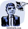 Vector Clip Art image  of a business man angel advice