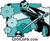 business man adjusting cogs of machine Vector Clip Art picture