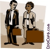 man with small briefcase woman with large briefcase Vector Clip Art graphic