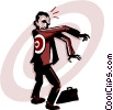 Vector Clipart graphic  of a business man with target on