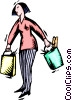 Vector Clipart image  of a woman with groceries