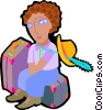 woman seated on luggage Vector Clipart image
