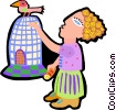 Vector Clipart picture  of a woman with bird on cage