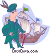 Vector Clipart image  of a Columbus with ship