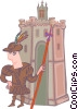 Vector Clipart image  of a explorer with castle