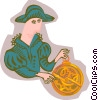 Vector Clipart graphic  of a explorer with astrolabe