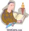 monk with book by candlelight Vector Clipart illustration