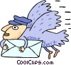 Vector Clip Art graphic  of a bird mailman