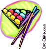 Vector Clip Art picture  of a Pool balls and cues