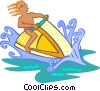 Vector Clipart illustration  of a Person riding jet ski
