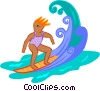 Vector Clip Art image  of a surfer woman