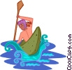 Vector Clipart picture  of a kayaking