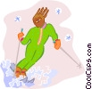 Vector Clip Art image  of a skiing woman