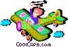 Vector Clip Art image  of a waving out of airplane