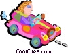 Vector Clip Art graphic  of a driving car