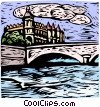 Vector Clipart graphic  of a woodcut European landscape