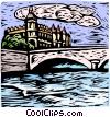 woodcut European landscape Vector Clipart picture