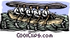 Vector Clipart illustration  of a business / woodcut - teamwork