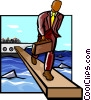 Vector Clip Art image  of a walking the plank