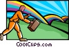 Vector Clip Art graphic  of a business / finding the pot of
