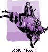 Vector Clipart illustration  of a business / riding a bull
