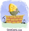 Vector Clipart image  of a humpty dumpty sat on the wall