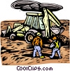 woodcut industry/backhoe Vector Clip Art picture