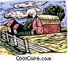 Woodcut farm landscape Vector Clipart illustration