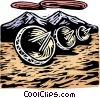 Vector Clip Art graphic  of a Woodcut satellite dishes
