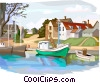 Vector Clip Art image  of a sailboats docked in marina