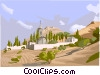 buildings on landscape Vector Clip Art graphic