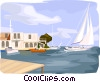 Vector Clip Art graphic  of a sailboats in harbor