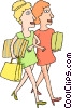 Vector Clip Art image  of a woman with shopping packages