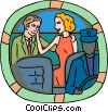 couple in backseat of limo Vector Clip Art picture