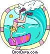 Vector Clip Art graphic  of a boogie boarder